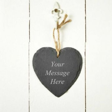 Personalised Engraved Slate Hanging Heart with Rope